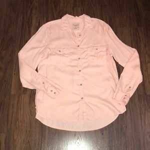 Blush Pink Double Pocket Button Down